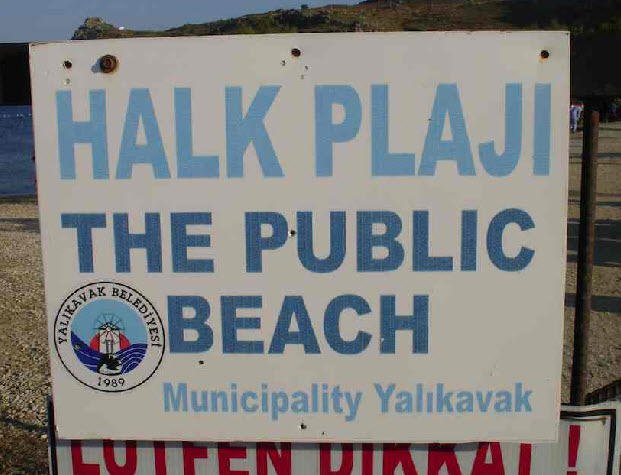 Yalikavak Public Beach Sign on Kudur peninsula Bodrum Turkey