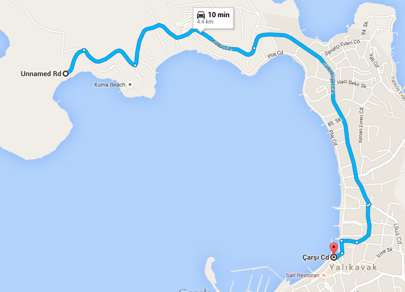 Map to Halk Plaj Public Beach Yalikavak Kudur Peninsula Bodrum Turkey